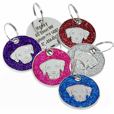 Labrador Glitter Personalized Dog Tags Engraved Stainless Steel Puppy Dog ID Tag
