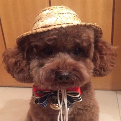Mini Pet Straw Sombrero Hat Halloween Cute Puppy Cat Beach Party Straw Hats
