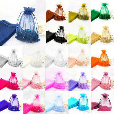 100Pcs Organza Gift Bags Wedding Party Favour Xmas Jewellery Candy Pouches GR