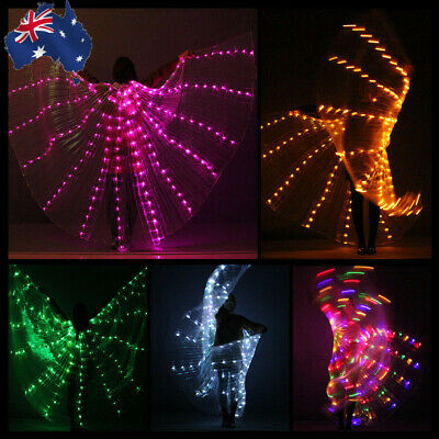 Rechargeable LED Isis Wings Glow Belly Dance Light Up Club Costumes Sticks Bag