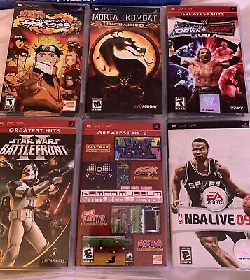 Sony Playstation PSP Game Lot of 6 Mortal Kombat, Naruto, WWE, NBA Live complete
