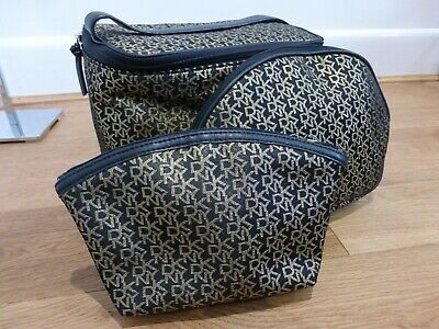 DKNY set of 3 make up cosmetic wash bags gold black