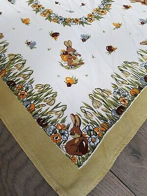 VINTAGE LINEN TABLECLOTH RUNNER Easter Eggs Flowers Rubbit Bunny