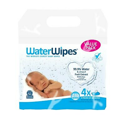 WaterWipes Sensitive Baby Wipes, Unscented, 240 Count (4 Packs of 60) NEW