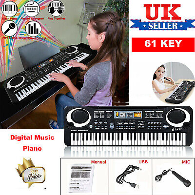 61Keys Digital Music Electronic Keyboard Electric Piano Organ &Microphone Set PT