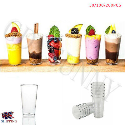 25/100 Mini Plastic 3oz Dessert Drink Shooters Jelly Cups Shot Glass Party Hot