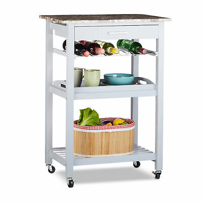 Kitchen Cart with Serving Tray, Tea Trolley with Bottle Rack, Grey