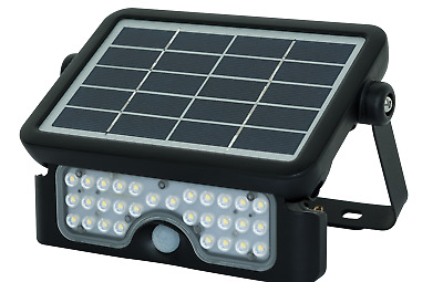 Luceco LED Solar Guardian PIR Sensor Floodlight 550 Lumen IP65 4000K Black 5Watt