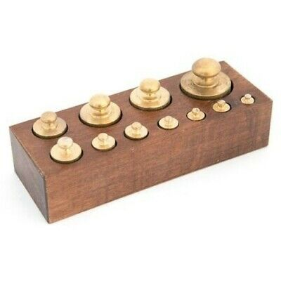 Set 11 Weights Balance Precision in Polished Brass with Base Wooden Zakir