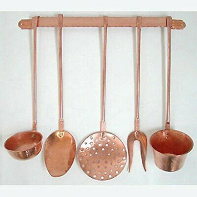 Series Set 5 Hanging Pot Kitchen Copper with Shelf Furniture