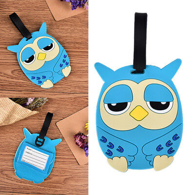 Travel Owl Suitcase Luggage Tags Name Address ID Card Holder Silicone Bag Label.