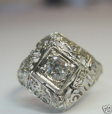 Antique Art Deco Vintage Diamond Engagement 18K White Gold Ring Sz 5.75 EGL USA