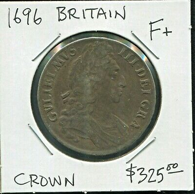 Great Britain- Beautiful Historical William Iii Toned Silver Crown, 1696 Km# 486