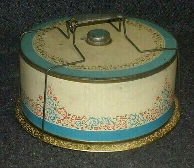 VINTAGE Mid Century Modern Turquoise Floral Round Cake Tin Handle Lid Carrier