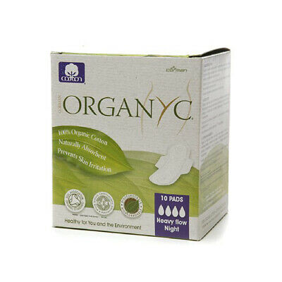 Organyc 100% Organic Cotton Pads Night Wings 10-Count Box 3 Pack
