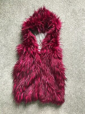 Next Girls Red Hoodie Faux Fur Vest Body Warmer Gilet Age 9 Years emo