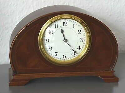 Antique - Edwardian 8 day mantle clock. Made in France. Mahogany. Running.