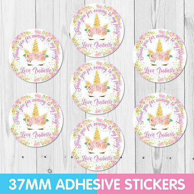Personalised Unicorn Party Stickers, Thank you, Sweet cone Labels x 35