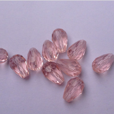 20pcs  pink  8x12mm Teardrop Glass Faceted Loose Crystal Spacer Beads
