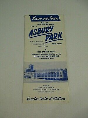 Road Map & Brief Historic Notes City Asbury Park NJ Travel Brochure Pamphlet~V