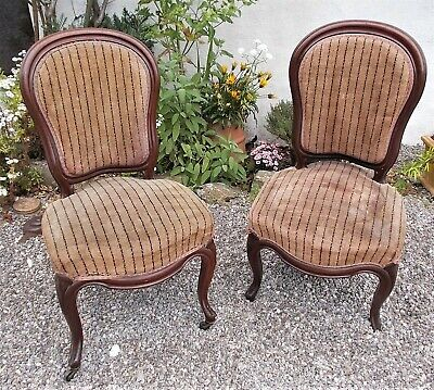 pair of antique french salon chairs,Edwardian velvet,possibly to recover.