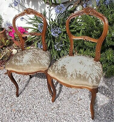 pair of antique french chairs, style Louis XV, beautifully shabby.