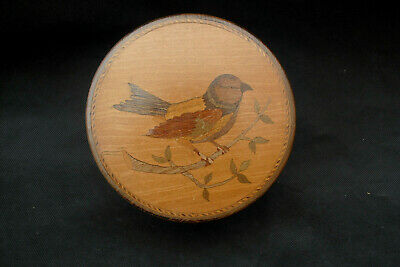 Antique woodenware round lidded box with inlaid bluetit to lid marquetry bird