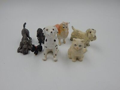 Vintage Lot of 7 Dog and Cat Animal Figurines Junk Drawer