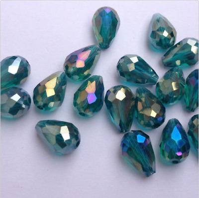 20pcs hole green ab  8x12mm Teardrop Glass Faceted Loose Crystal Spacer Beads