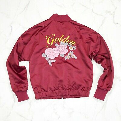 d7f922c7f ARITZIA GOLDEN BY Tna Bomber Jacket XS Embroidered Flower G Burgundy Red FSP