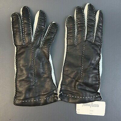 ea4486693 Vintage Neiman Marcus Black & White Cashmere Lined Gloves Sz 7.5 Made in  Italy