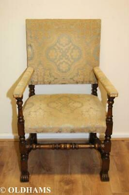 Stunning Antique Oak and Fabric Armchair - Claw Foot