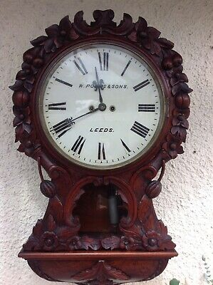 19th Century Double Fusee Drop Dial Wall Clock