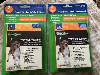 New Sentry Worm X Plus 7 Way Dewormer For Dogs Small 6 - 25 Lbs 8 Pack Sealed