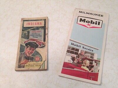 Vintage  1965 Mobil Oil Map ~ Milwaukee ~ 1940,s Sinclair Map Indiana