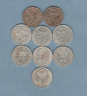 Date run of George v silver threepence 1913-1921