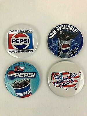 Pepsi Pins 4 lot Vintage 3 inch pins - Americas Choice, ES, One, Choice of a New