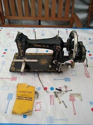 Antique Harris No1 H Sewing Machine RARE WITH INSTRUCTIONS BOOK