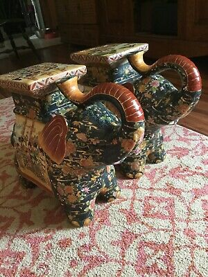 BEAUTIFUL LARGE VINTAGE PAIR CHINESE ELEPHANT STANDS Must Se