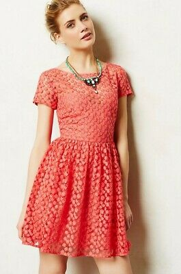 Anthropologie_Artelier Stitched Blossom Overlay Dress_size 0_Pink/Coral