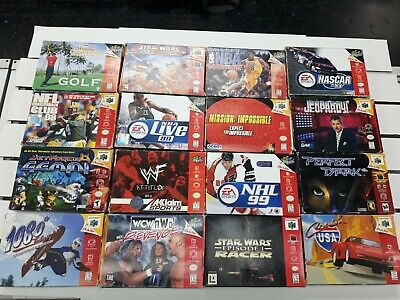 16 N64 game boxed lot Perfect Dark Star Wars 1080 mission impossible NHL NFL NBA
