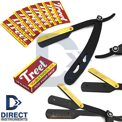 Modern Cut-Out Knife Straight Razor Men Gold Latch Barber Hair Shaving + Blades