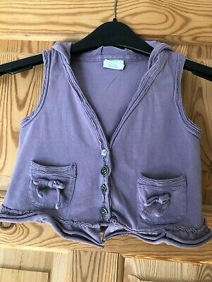 NEXT Girls Pretty Lilac Bow/Frill Detail Sleeveless Hooded Top Age 2-3yrs