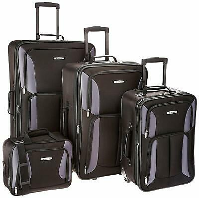 Rockland Luggage Expandable Wheeled 4 Piece Set, Travel Bags, Black/Grey