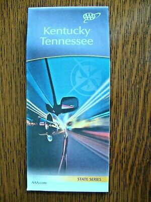 KENTUCKY TENNESSEE STATE Travel Tour Road Map Street Roadmap Guide KY TN AAA
