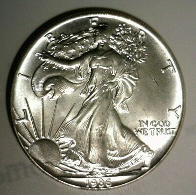 1986  AMERICAN SILVER EAGLE  UNCIRCULATED  .999 SILVER 1oz.  FIRST YEAR!!