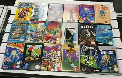 18 NES game boxed lot Immortal Mario Time Lord Top Gun Dragon Warrior Iron Sword