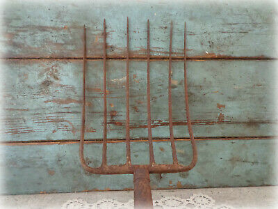 vintage primitive 6 tine prong pitch hay fork head farm tool rustic decor