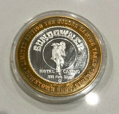 Sundowner Hotel Casino .999 Fine Silver Strike Old West Cowboy $10 Gaming Token