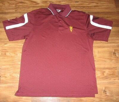 Arizona State Sun Devils Mens Polo Shirt, Ping, Embroidered, Red, Size L, EUC